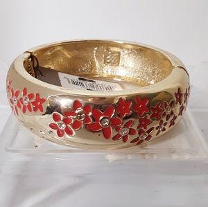 Tommy Bahama Goldtone Hinge Bracelet Flowers NWT